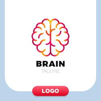 Cerveau logo silhouette design vectoriel modèle linéaire.