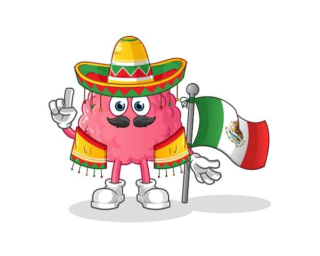 Cerveau mexicain avec caractère traditionnel de tissu et de drapeau. mascotte de dessin animé