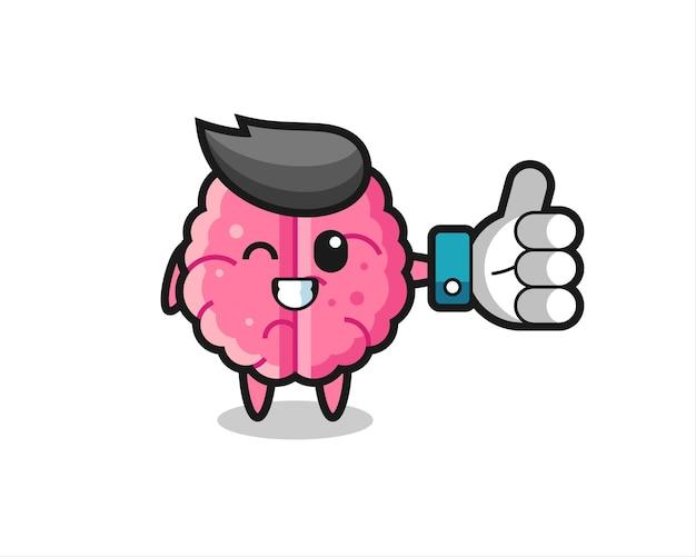 Cerveau mignon avec symbole de pouce levé sur les médias sociaux, design de style mignon pour t-shirt, autocollant, élément de logo