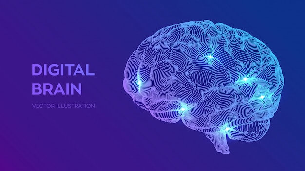Cerveau numérique. concept 3d science et technologie. réseau neuronal. test de qi, intelligence artificielle