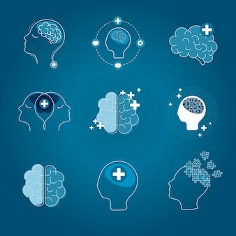 Cerveau et santé mentale icônes vectorielles set