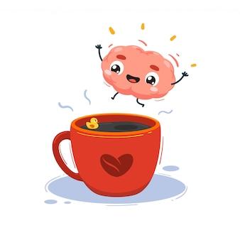 Un cerveau saute dans une tasse de café. illustration isolée