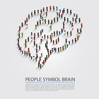 Cerveau de symbole de personnes, groupe de personnes chante le cerveau, illustration vectorielle