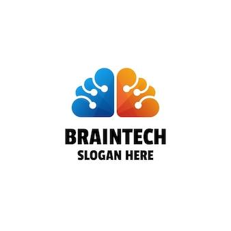 Cerveau technologie gradient coloré logo design