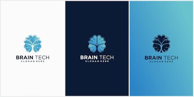 Cerveau et technologie logo combinaison cerveau technologie cerveau logo icon set et vector illustration