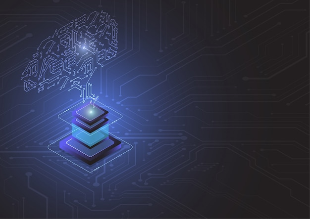 Cerveau technologique. circuit imprimé abstrait.