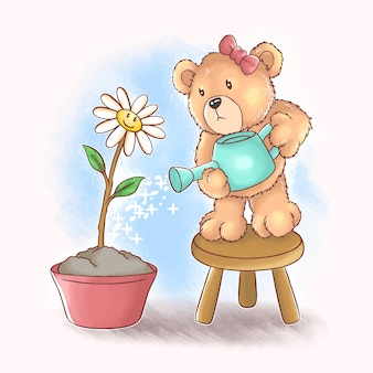 Cet ours en peluche mignon arrose des tournesols et cette conception utilise un style aquarelle vectoriel