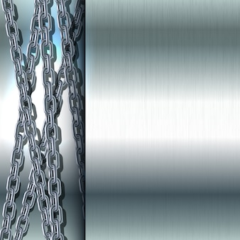 Chaîne en acier inoxydable sur fond métallique illustration de texture en acier poli