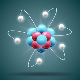 Chaîne d'atome de science dans les couleurs bleues et rouges blanches avec ombre 3d