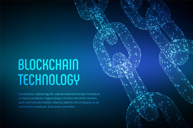 Chaîne de bloc. crypto monnaie. concept de blockchain. chaîne filaire 3d avec code numérique. modèle de crypto-monnaie éditable. illustration vectorielle stock