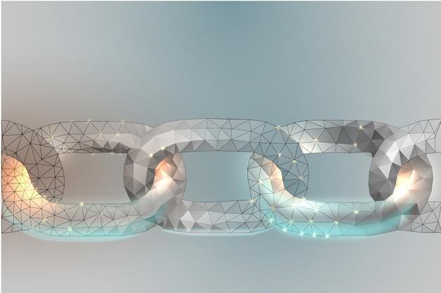 Chaîne blockchain link sign chaîne de technologie internet de conception low poly