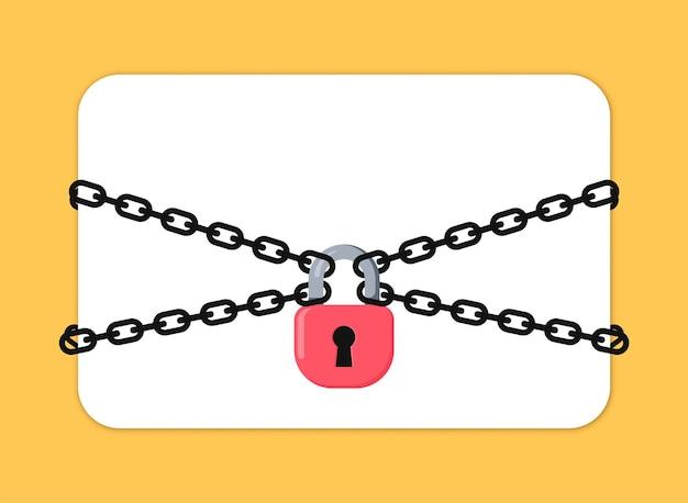 La chaîne et le cadenas en métal noir. notion de protection. carte vide, illustration vectorielle.