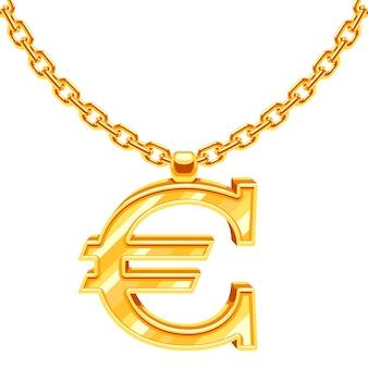 Chaîne de collier en or avec illustration symbole euro. valeur financière en or, monnaie européenne