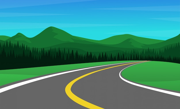 Chaîne de montagnes avec forêt de pins et route de campagne vide
