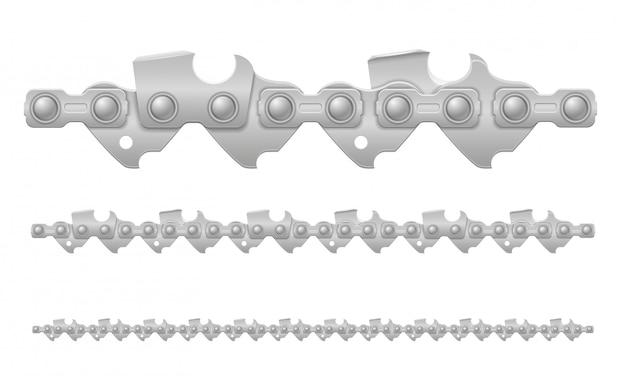 Chaîne de tronçonneuse en métal et illustration vectorielle aiguisée