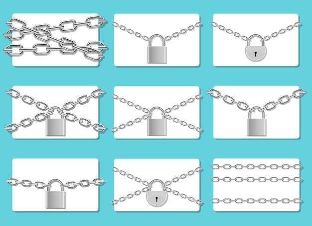 Chaîne verrouillée avec cadenas, isolé sur fond