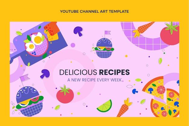 Chaîne youtube de délicieuses recettes au design plat