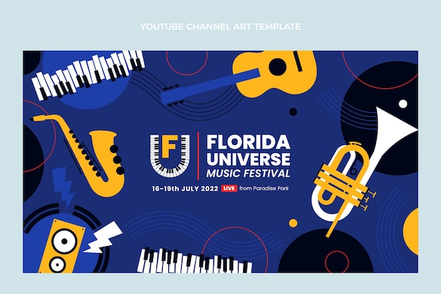 Chaîne youtube du festival de musique minimal design plat