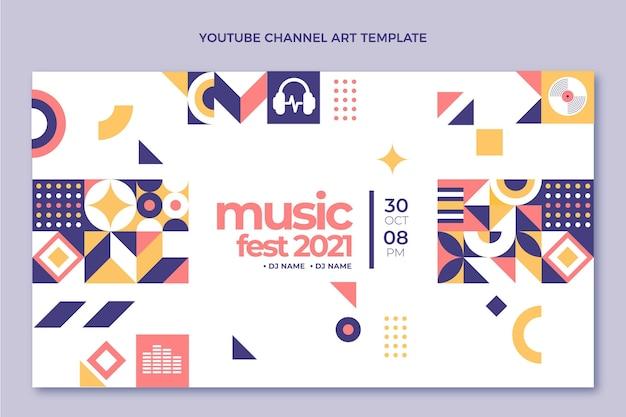 Chaîne youtube du festival de musique en mosaïque design plat