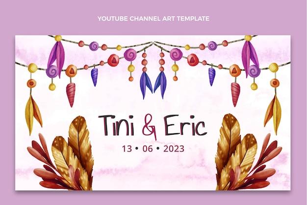 Chaîne youtube de mariage bohème aquarelle