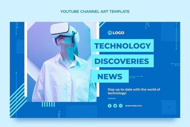 Chaîne youtube à technologie minimale de style plat
