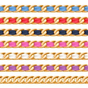 Chaînes dorées avec brosse à ruban en tissu fileté coloré. bon pour collier, bracelet, accessoire de bijoux.