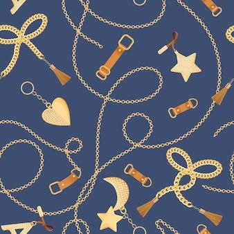 Chaînes dorées, sangles et breloques avec motif sans couture de diamants. fond de tissu de mode avec des éléments d'or, de pierres précieuses et de bijoux pour les papiers peints, l'impression. illustration vectorielle