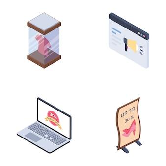 Chaînes de médias publicitaires numériques mis des icônes isométriques