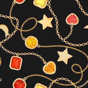 Chaînes d'or et modèle sans couture de pierres précieuses. bijoux émeraudes, accessoires en or, pierres précieuses et diamants motif de mode pour le textile en tissu. illustration vectorielle