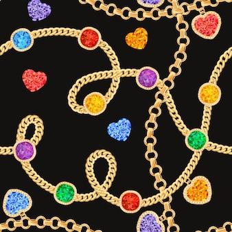Chaînes d'or et modèle sans couture de pierres précieuses. bijoux émeraudes, pendentifs en or, pierres précieuses et diamants motif de mode pour le textile en tissu. illustration vectorielle