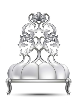 Chaise baroque de luxe vector 3d design réaliste. riche ornements sculptés couleurs d'argent