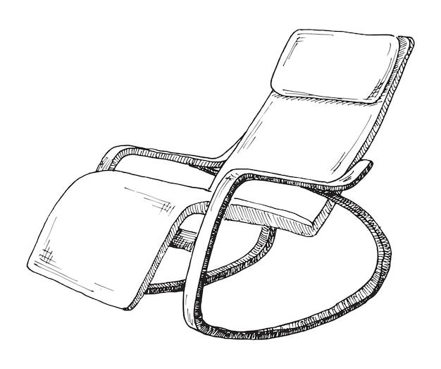 Chaise berçante isolée sur blanc