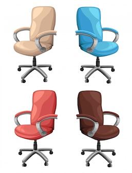 Chaise de bureau ou de bureau dans différents points de vue. fauteuil ou tabouret devant, dos, angles latéraux. conception d'icône plate de meubles à roulettes d'entreprise. illustration.