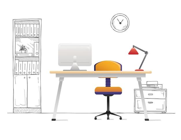 Chaise de bureau, bureau, divers objets sur la table. espace de travail avec style. illustration