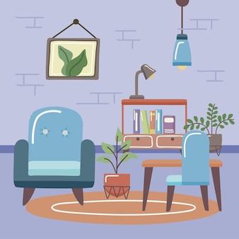 Chaise et bureau confortables et à la maison au salon