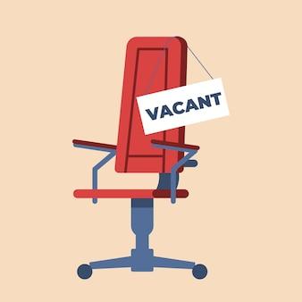 Chaise de bureau de dessin animé avec signe vacant. la location de dessin animé plat annonce le lieu de travail pour le chasseur de carrière. illustration vectorielle concept d'embauche et de recrutement