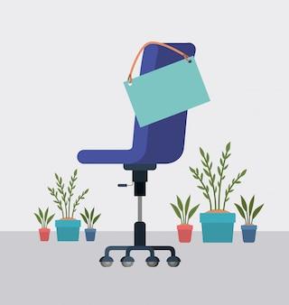 Chaise de bureau avec étiquette suspendue et plantes d'intérieur