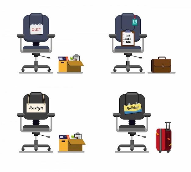 Chaise de bureau avec jeu d'icônes de message, symbole de l'emploi en dessin animé illustration vectorielle plate modifiable