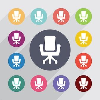 Chaise de bureau, jeu d'icônes plat. boutons colorés ronds. vecteur