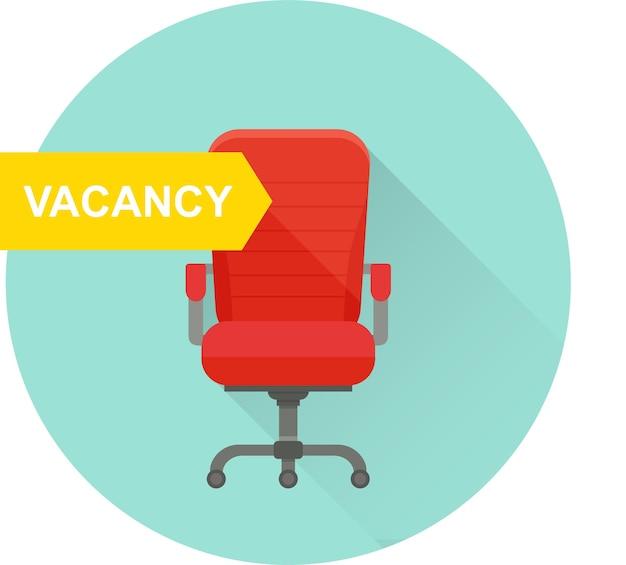 Chaise de bureau avec signe vacant. illustration vectorielle.