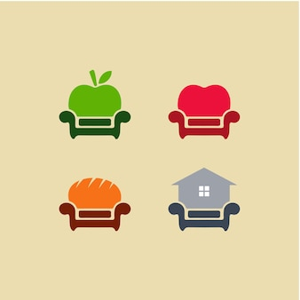 Chaise de canapé de design d'intérieur de variation abstraite d'illustration sertie de symbole appleheartbakeryhouse