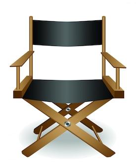 Chaise de cinéma de directeur et vecteur d'objectif