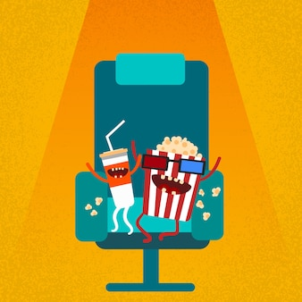 Chaise de cinéma film siège de film dessin animé cola pop-corn