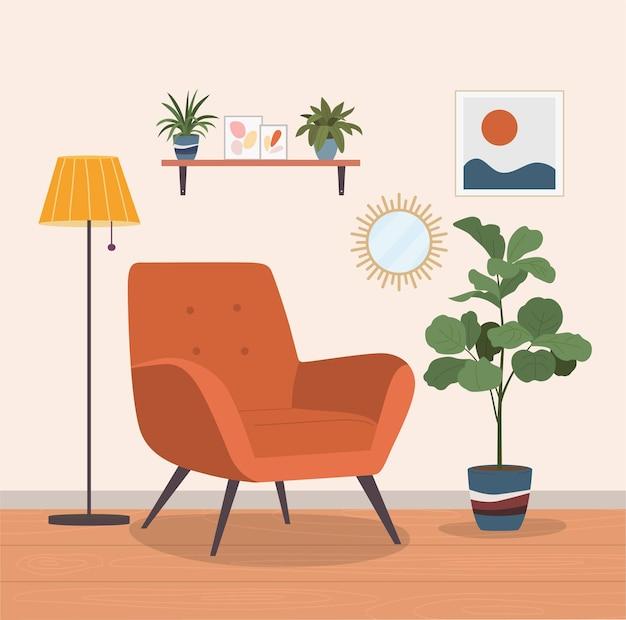 Chaise confortable et plantes d'intérieur