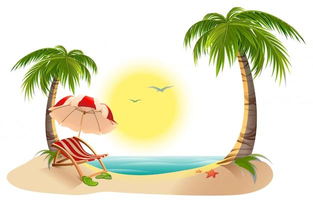 Chaise longue de plage sous palmier. parasol. vacances d'été sous les tropiques