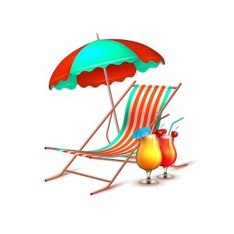 Chaise longue de vecteur parapluie cocktail vacances d'été