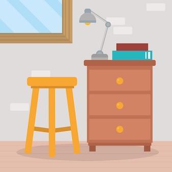 Chaise à la maison et scène de tiroir