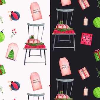 Chaise de noël et cadeaux motif aquarelle