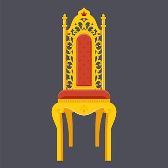 Chaise d'or. trône majestueux.