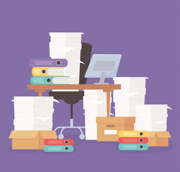Chaise ordinateur bureau papier et boîtes bureau travail stress